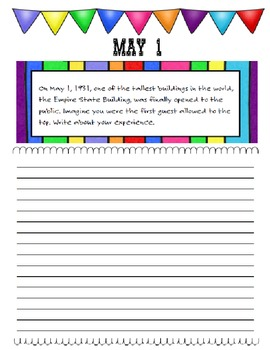 Journal Prompts Printable Notebook Jan Feb Mar Apr May CCSS W.1, W.2, W.3