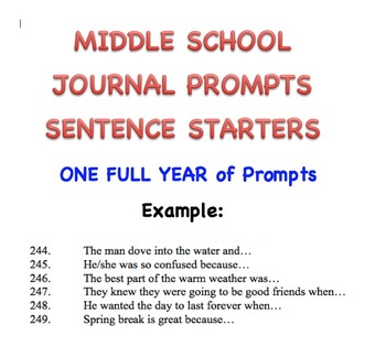 Journal Prompts Sentence Starters - For Middle School - a Full Year of Prompts