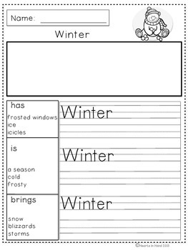 Journal Prompts Winter For Primary(K-3)