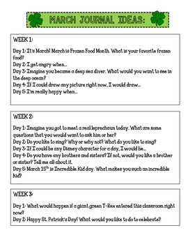 Journal Prompts by Month