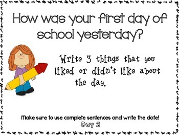 Journal Prompts for 180 days of School Smart Board Ready