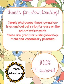 Journal Prompts for French Immersion