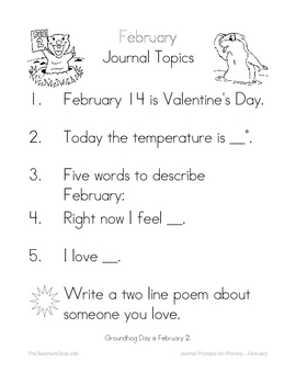Journal Prompts for Primary - February
