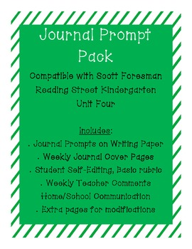 Journal Prompts for Reading Street Kindergarten - Unit Four