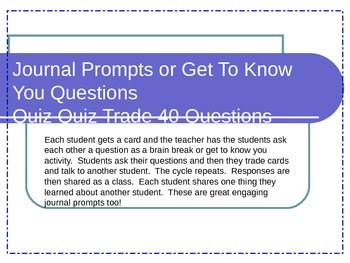 Journal Prompts or Get To Know You Questions Quiz Quiz Trade 40 Questions