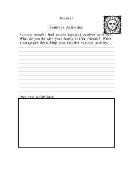 Journal Question Summer Activities Topic