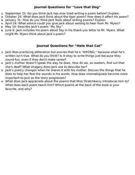 Journal Questions for Love that Dog and Hate that Cat