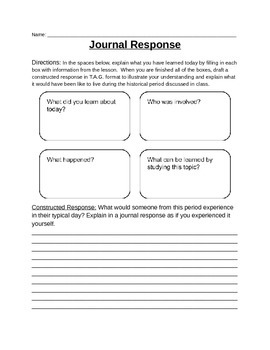 Journal Response for Daily Lesson