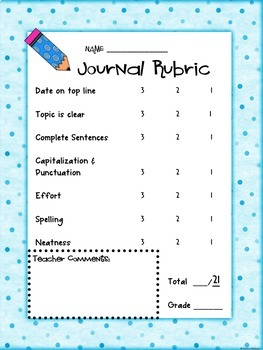 Journal Rubric & Self Assessment (Perfect for 1st-3rd grades)