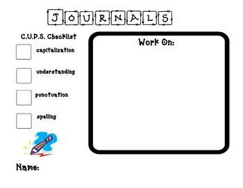 Journal Self Assessment Rubric- C.U.P.S.