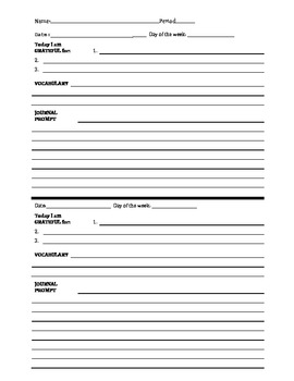 Journal template by the drama llama teachers pay teachers for Iop journal word template