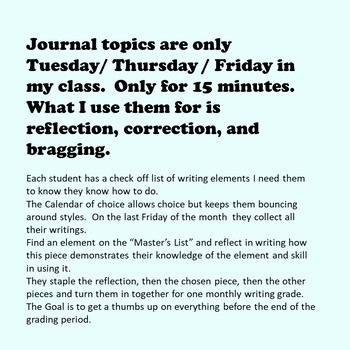 Journal Topics Upper Grade Calendar