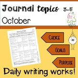Journal Topics October - Writing every day grades 3 to 5