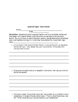 Journal Topics and Prompts