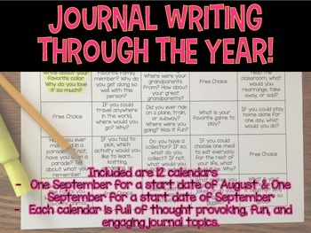 Journal Writing Calendar! No Prep! Quick Writes using fun thought questions!