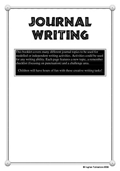 Journal Writing - Creative Writing Tasks