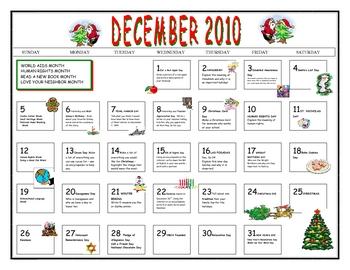 Journal Writing - December Calendar