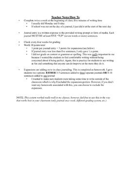 Journal Writing - FULL Sixth Grade Sets 1-9