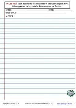 Journal Writing Grade 4 CCSS ELA  (Formative Assessment)