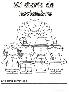 Journal Writing Pages/Booklet for the Month of November (Spanish)