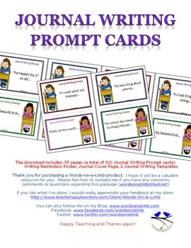 Journal Writing Prompt Cards and Package