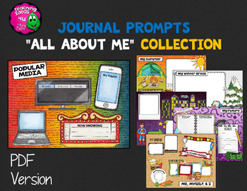 "Journal Writing Prompts ""All About Me"" Color & Ink Saver Versions"