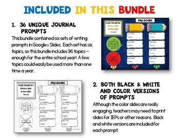 Journal Writing Prompts BUNDLE GOOGLE Drive Version 36 Topics
