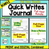 Writing Prompts Journal For Daily Writing YEAR LONG BUNDLE Print and Digital