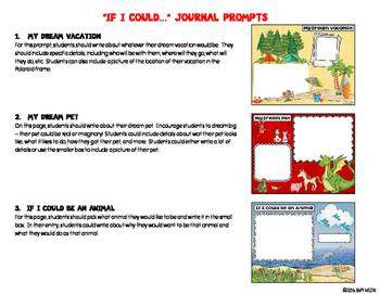 "Journal Writing Prompts ""If I Could..."" Color & Ink Saver Versions"