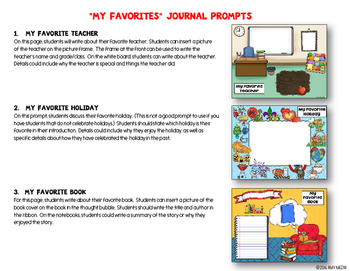 "Journal Writing Prompts ""My Favorites"" Color & Ink Saver Versions"