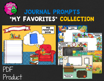 """Journal Writing Prompts """"My Favorites"""" Color & Ink Saver Versions"""