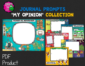"""Journal Writing Prompts """"My Opinions"""" Color & Ink Saver Versions"""