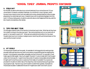 """Journal Writing Prompts """"School Times"""" Color & Ink Saver Versions"""