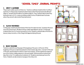 "Journal Writing Prompts ""School Times"" GOOGLE Drive Version"