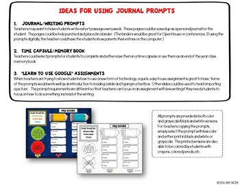 """Journal Writing Prompts """"School Times"""" GOOGLE Drive Version"""
