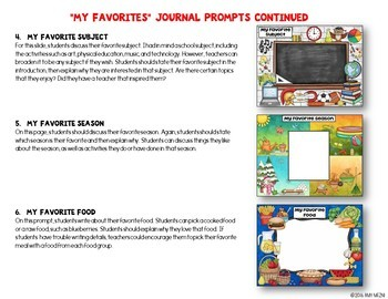 """Journal Writing Prompts """"My Favorites"""" GOOGLE Drive Version"""