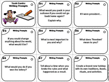 Journal Writing Prompts Task Cards 7th 6th 5th 4th Grade Reading Comprehension