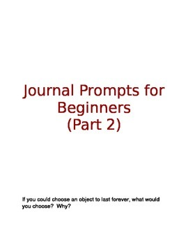 Journal Writing Prompts Part 2