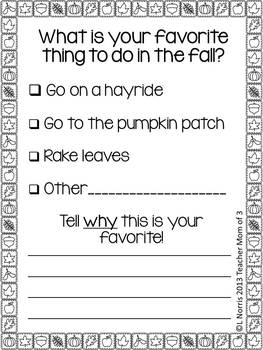 Writing Prompts for October for Journals and Writing Centers