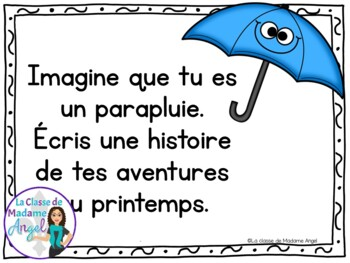 Écriture:  French Journal Writing Prompts for April
