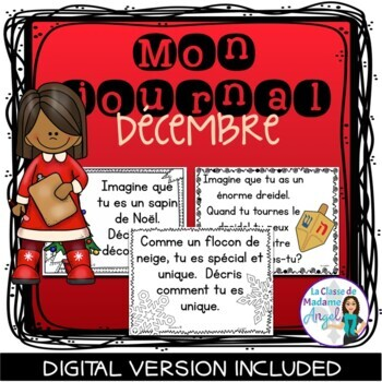 Écriture:  French Journal Writing Prompts for December