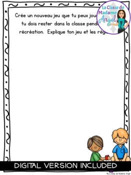 Journal Writing Prompts in French - February