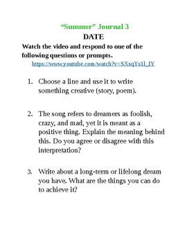 Journal Writing - Seventh Grade Summer Theme