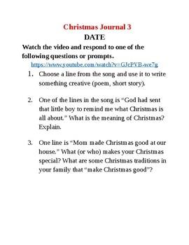 Journal Writing - Sixth Grade Christmas Theme
