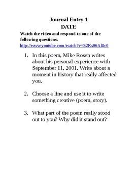 Journal Writing - Sixth Grade Set 2