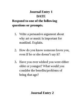 Journal Writing - Sixth Grade Set 6
