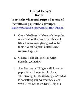 Journal Writing - Sixth Grade Set 8