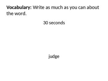 Journal Writing and Vocabulary to start Persuasive Writing