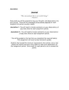 Journal Writing for Journalism