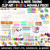 Journal and Note-Taking Clip Art / DIGITAL Movable Pieces